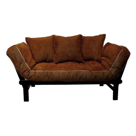 Futon Convertible by Elite Products Hudson Convertible Futon Sofa In Chocolate