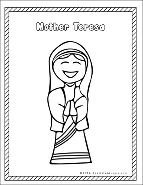 coloring pages packet pdf mother teresa printables packet real life at home