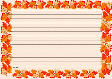lined paper with turkey border poppy themed wide lined page border by