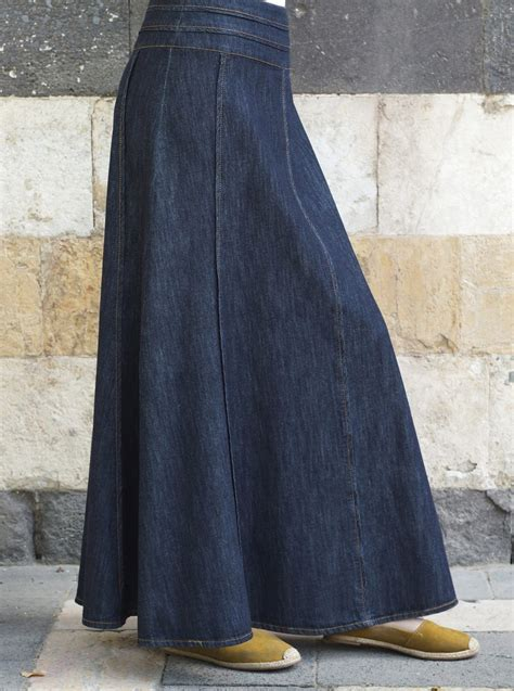 shadha denim maxi skirt maxi skirts