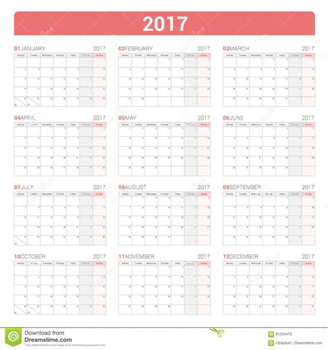yearly wall calendar planner template for 2017 year