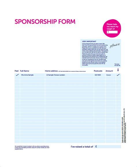 sponsorship sheet template sponsorship form template free printable