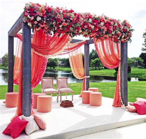 floral decorations mandap pink lotus events