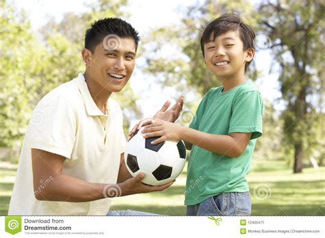 film thailand father and son father and son in park with football stock image image
