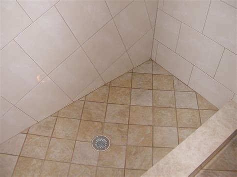 shower floor tile wrapping bathroom interior in chic