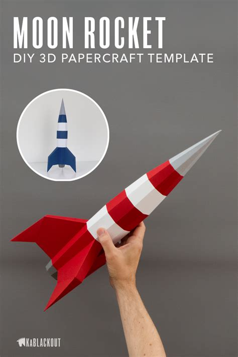 Papercraft Rocket Template Build Your Own Fabulous 1950s Inspired Rocketship Perfect Decor For 3d Rocket Template Printable