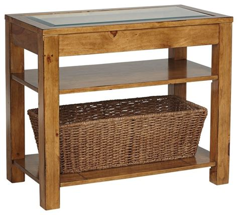 rustic lodge dryden pine storage basket accent table