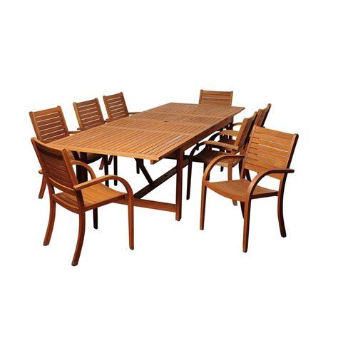 Extendable Patio Dining Sets Amazonia Rectangular 9 Eucalyptus Extendable