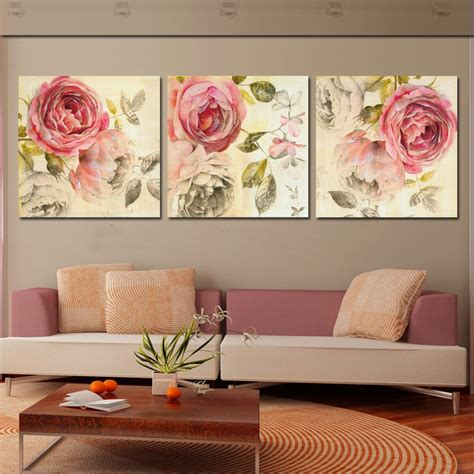 home decor canvas wall art 3 piece wall art painting classic flower rose canvas