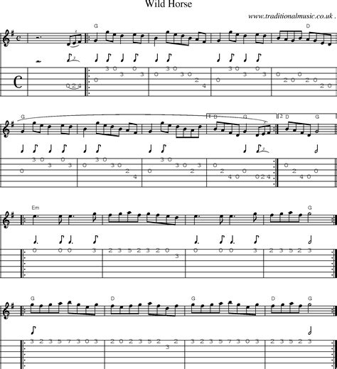 guitar tutorial wild horses common session tunes scores and tabs for guitar wild horse