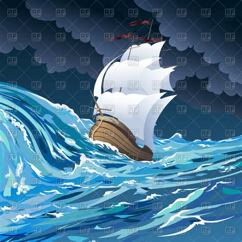 cartoon boat in storm sail ship in stormy ocean on cloudy night sky in cartoon