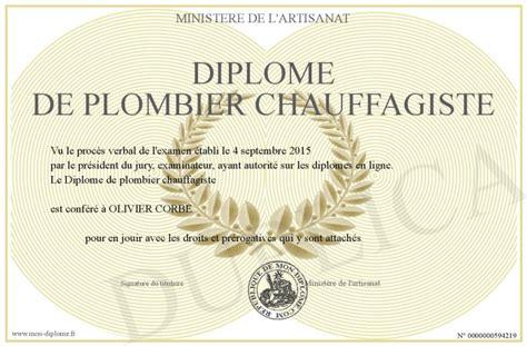 Plombier Chauffagiste by Diplome De Plombier Chauffagiste