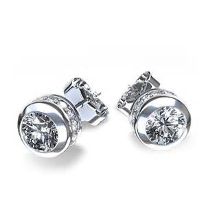 dimond earings 1 2 ctw bezel and prong set earrings in 14k white gold