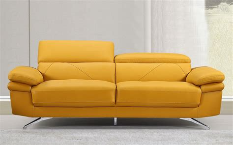 Yellow Leather Sofa Everett Modern Style Yellow Leather Sofa