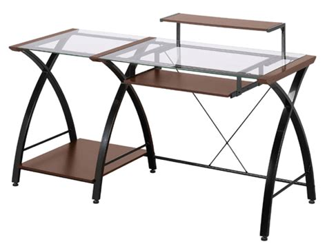 Wood And Glass Desk by Z Line Designs Brisa Glass Wood Metal Computer Desk Zl4053 3dbu