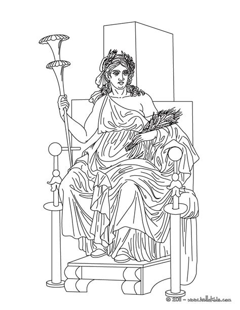 demeter the greek goddess of the harvest coloring pages