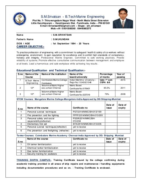 How To Do A Resume Sample by Srivatsan Cv Marine Engineering Revised