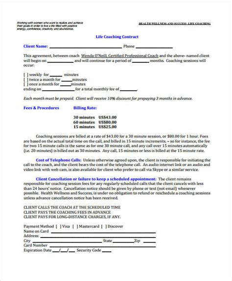 Coaching Agreement Jose Mulinohouse Co Credentialing Contract Template