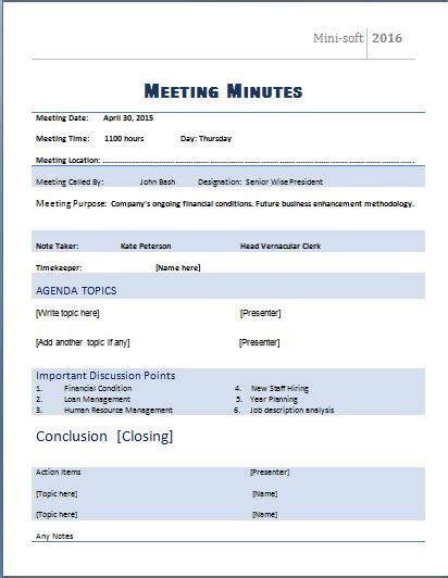 microsoft office meeting agenda template template minutes of board