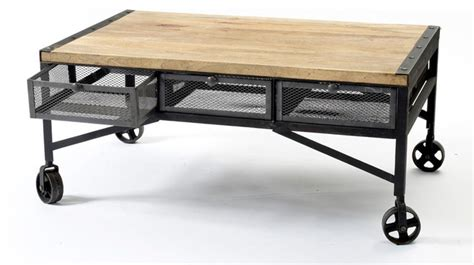 caster wheel coffee table tribeca industrial mesh drawer caster wheel coffee table