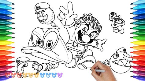 coloring pages mario odyssey how to draw mario odyssey 23 drawing coloring pages for