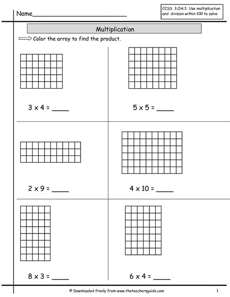 Arrays Worksheets by Multiplication Array Worksheets From The S Guide