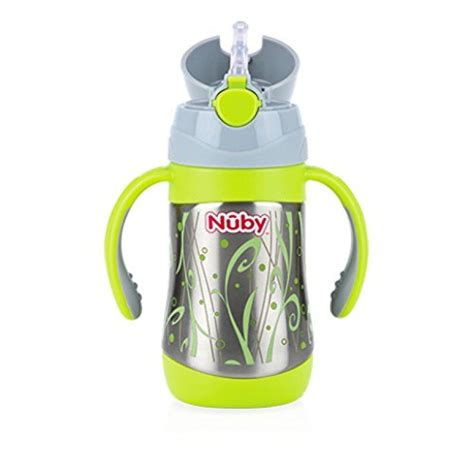 Sale Nuby Click It Insulated Stainless Steel Straw Bottle 280ml nuby insulated stainless steel cup with straw 280ml dumyah nuby feeding meal time