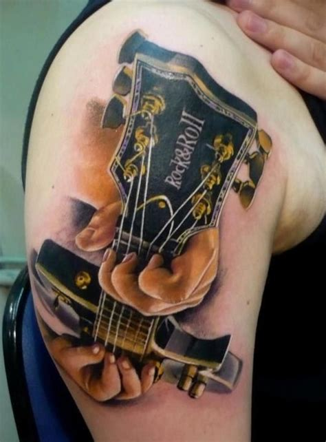 tattoo 3d guitar rock and roll guitar tattoo on the shoulder guitar
