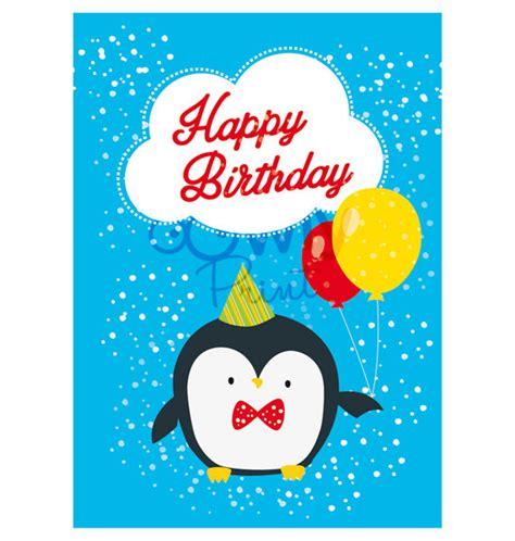 printable birthday cards pdf printable penguin happy birthday card ready to print by