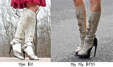 diy knee high socks from tights diy miu miu embellished socks michele