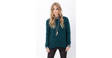 loop knit sweater forever 21 textured loop knit sweater in green lyst