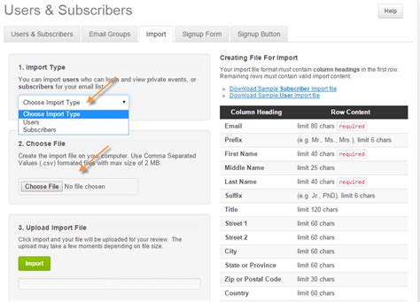Calendarwiz Review Choose File Users Subscribers