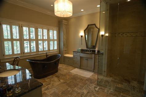 High End Master Bathroom With Copper Tub Curbless Shower High End Bathroom Showers