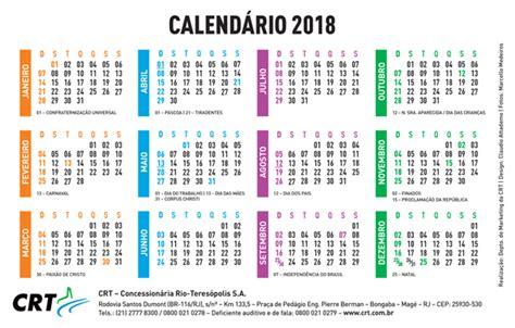 Calendario 2018 Feriados Brasil Calend 225 Crt Crt Concession 225 Ria Teres 243 Polis