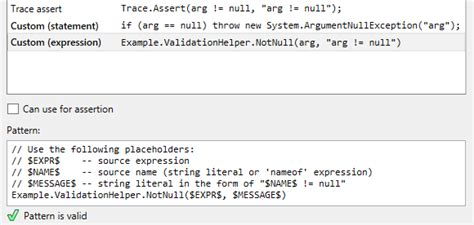 pattern quantification exception definition generating null checking routines help jetbrains rider