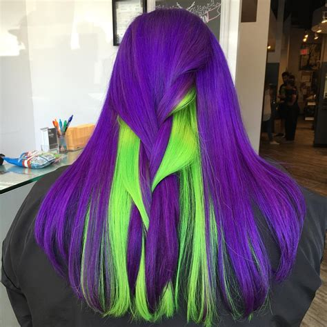 violet colored violet and neon green hair hair color