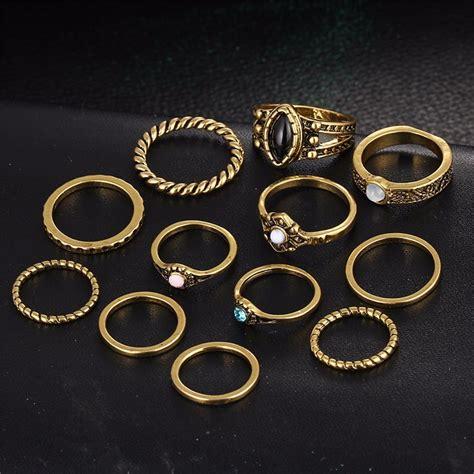 Gelang Set Cincin 17km cincin midi ring vintage golden