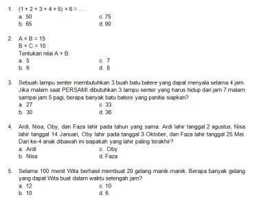 Latihan Matematika Nalaria Realistik Tingkat Sd Edisi 1 latihan soal matematika nalaria realistik paket 2 untuk kelas 3 4 republika
