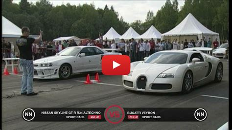 bugatti veyron vs nissan skyline gt r r34 vinemoments