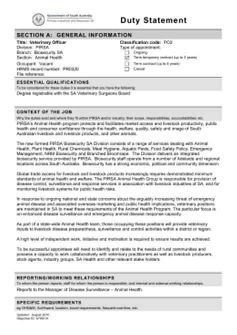 Position Description Approval Duty Statement Template