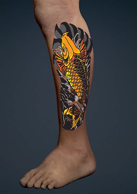 Koi Fish Calf Tattoo | koi fish calf tattoo design on behance
