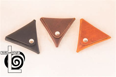 Rugged Leather Bag Leather Coin Pouch Triangle Techleathercraft