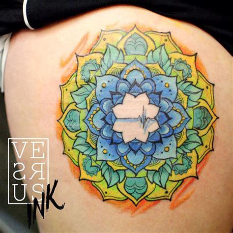 colorful thigh tattoos colorful mandala thigh best ideas designs