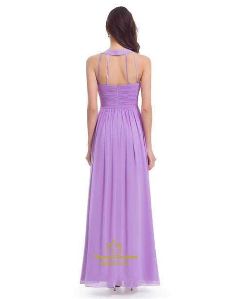 Sleeveless A Line Chiffon Dress lavender floor length sleeveless a line halter chiffon