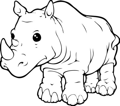 rhinoceros free colouring pages