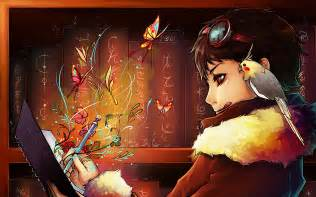 Anime book writing girl walls wallpaper forwallpaper com