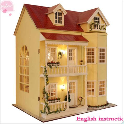 homemade wooden doll houses wooden handmade dollhouse miniature diy kit large villa furniture accessories ebay