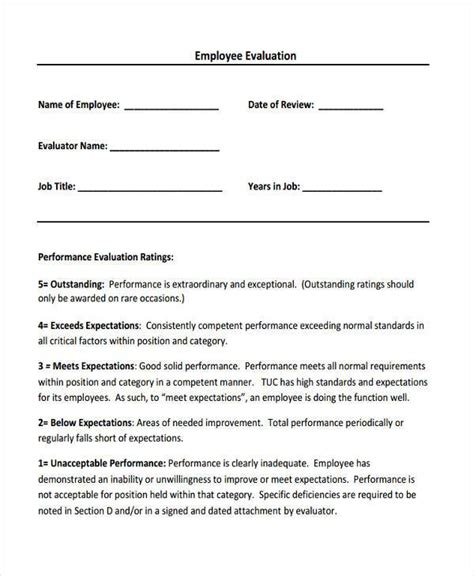 Appraisal Letter For Employee Sle 8 Sales Evaluation Form Sles Free Sle Exle Format