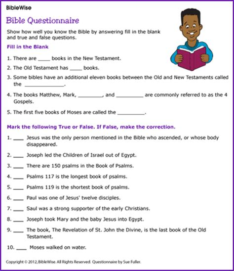 printable character questionnaire fill in the blank and true and false bible questionnaire