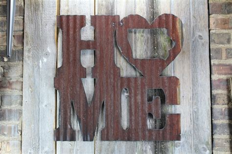 tin home decor rusty tin home w state cutout rustic metal letters